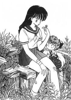 Kagome, Shippo, and Myoga
