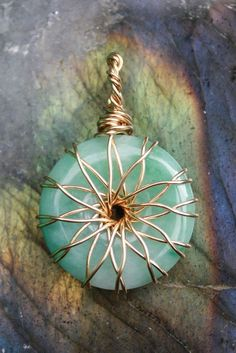 Gold Filled Vortex Energy Pendant Wire Wrap Jadite