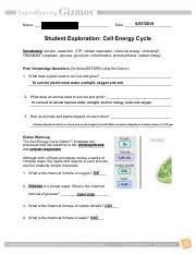 Cell Energy Cycle Pdf Kiera Jones Name Date Student Exploration Chemical Energy Cell Energy
