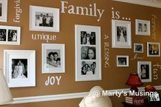 Change it to: Running is.gallery wall, home decor, Finished Product Family Gallery Wall with vinyl words cut with Cricut diecutting machine Den Decor, Wall Decor, Home Decor, Family Wall, Family Room, Home Projects, Home Improvement, Photo Wall, White Frames