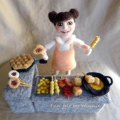 Needle felted girl and street food OOAK handmade childhood