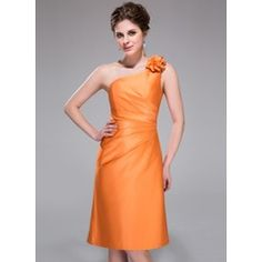 Sheath/Column One-Shoulder Knee-Length Satin Bridesmaid Dress With Ruffle Flower(s)