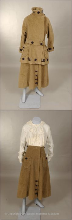 Woman's four piece toboganning outfit of heavy cinnamon wool plush, by J. Hock, Detroit Historical Museums Costume Collection. Includes jacket, skirt, knickers, and hat. See: http://dlxs.lib.wayne.edu/cgi/i/image/image-idx?id=S-DHHCC-X-1983.100.108%5DES01P83_100_108A