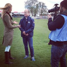 World champion, European champion, Olympic gold medallist and Horseware sponsored rider Michael Jung being interviewed by Jenny Rudall for Horse TV at Badminton.