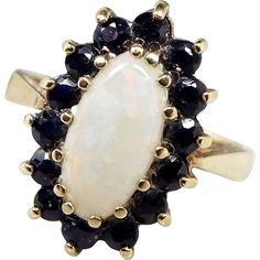 Vintage Mid Century 9ct Yellow Gold Ornate Opal and Blue Sapphire Cluster Ring / Size L 1/2 -- found at www.rubylane.com #vintagebeginshere #vintagejewelry