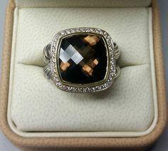 4.90 TCW Genuine Smoky Quartz 14k Gold over .925 Silver Ring