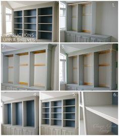 DIY Built-in Office Cabinet Upper Shelves   Classy Glam Living