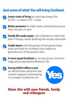 Just some of the what Yes will bring to Scotland