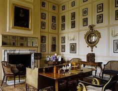 print-filled study at Dyrham Park ~ Dyrham Park is a baroque mansion in an ancient deer park near the village of Dyrham in South Gloucestershire, England.