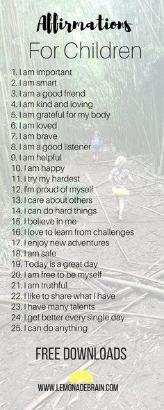 Affirmations for Kids - Lemonade Brain #kids #lifewithkids #affirmationsforkids #affirmationsforchildren