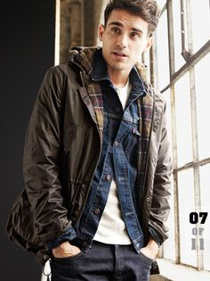 Brown rain jacket wth checked lining, over blue jean shirt, white round neck tee & dark jeans