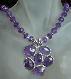 "Amethyst Necklace c/w Sterling Silver Amethyst Pendant - 21""lg (53cm) - Sterling Silver Finish on Etsy, $55.00"