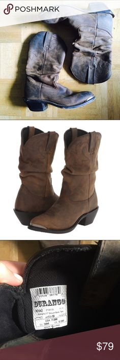 Durango Women's Distressed Slouch Western Boot 7.5 A high quality western cowboy boot I used to love- some signs of wear along the toes and sole that give these boots character- these feature detailed craftsmanship and intricate stitching and will last you years- they're quite heavy, indicating their quality and durability- no trades- open to offers Durango Shoes Heeled Boots