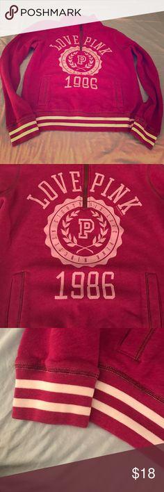 Victoria's Secret Pink Half Zip GREAT condition on this Victoria's Secret half zip hoodie!!! Size small. PINK Victoria's Secret Tops Sweatshirts & Hoodies