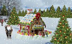 The Winter Christmas Gingerbread House Card - christmas cards merry xmas diy cyo greetings Christmas Scenes, Christmas Art, Winter Christmas, Vintage Christmas, Christmas Decorations, Christmas Ornaments, Christmas Tree Pictures, Christmas Gingerbread House, Merry Xmas