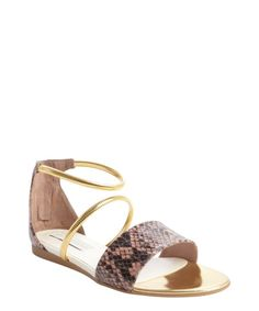 Stella McCartney rose and gold faux leather embossed detail strappy sandals