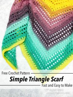 Use this easy, free crochet pattern to make a shawl or modern triangle scarf. - - Use this easy, free crochet pattern to make a shawl or modern triangle scarf. This pattern uses just one skein of Lion Brand Mandala yarn to make a tr. Crochet Bolero, Crochet Prayer Shawls, Crochet Shawl Free, Crochet Shawls And Wraps, Crochet Motifs, Crochet Scarves, Crochet Stitches, Knit Crochet, Crochet Mandala