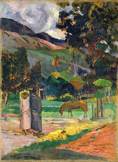Tahitian Landscape - Paul Gauguin .....I REALLY need to stop being a nerd... mrs barber would be so proud, tho....  french, 1800's