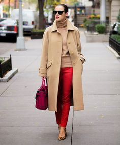 red jeans and camel coat