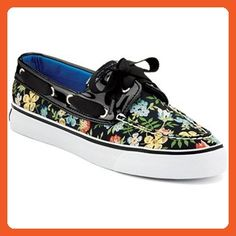 Sperry Womens Boat Shoes Size 6.5 M Bahama Black/Floral Canvas - Athletic shoes for women (*Amazon Partner-Link)