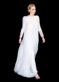 Jennifer Lawrence, wearing Dior Couture, attends the 'The Hunger Games: Mockingjay Part 2' Premiere on November 9, 2015 in Paris, France.