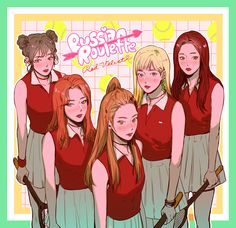 "Fan art of Wendy (웬디), Seulgi (슬기), Irene (아이린), Joy (조이) and Yeri (예리) of Red Velvet (레드벨벳) from their comeback, ""러시안 룰렛 (Russian Roulette)"". 
