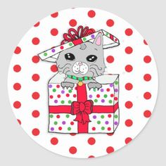 Sweet Kitten In Christmas Gift Box With Polka Dots Classic Round Sticker Zazzle Com Christmas Stickers Christmas Gift Box Round Stickers