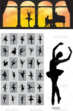 Ballerina Silhouettes #GraphicRiver This is nice and high detail vector. In this files include AI and EPS versions. You can open it with Adobe Illustrator CS and other vector supporting applications. visit my silhouettes collection graphicriver