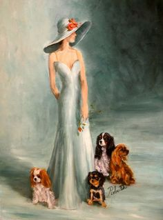 Cavalier King Charles Spaniel with Lady Dog Art Print by Roberta C