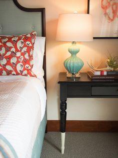 A feminine, flirty #bedroom designed by Melanie Coddington. color mix, design bedroom, color combo, color schemes, bedroom colors, master bedrooms, guest rooms, melani coddington, bedroom designs