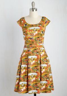 Good Times Had by Fall Dress. Panoramas painted with fiery pigments, gravel…