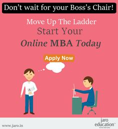 Want to climb up the corporate ladder? Start your ‪#‎MBA‬ today! Jaro Educationprovides 2 Years Online MBA program offered by Bharathiar University. This program is tailored for working professionals, students & entrepreneurs to develop key leadership skills. ‪#‎ONLINE‬