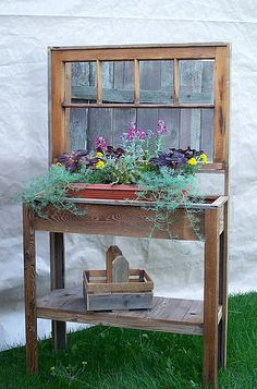 Garden Potting Table. I had one very much like this, that my neighbor made & gave me as a gift years ago. But, instead of a mirrored back, he used an old white-washed window. It was so beautiful. Unfortunately, when we lived at the beach, the salt air made it fall apart :(