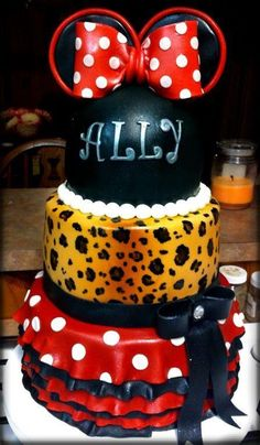 Leopard and Red Minnie Mouse