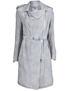 Biker trench coat in graphite pony hair print from 3.1 Phillip Lim. This silk trench coat features a front off-set exposed two-way zipper closure, three front zipper pockets, zipper cuffs, and shoulder epaulettes. Has floating back yoke, center slit, and matching waist belt.