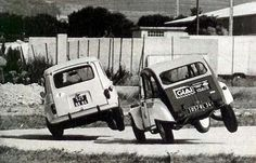 Citroen 2CV and Renault 4 cornering on two wheels • Citroen 2CV club