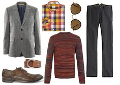 GREY AND BROWN  Meeting the in-laws or brunch with the boss?  Start with a traditional foundation, then add some personality.  A grey tweed blazer and brown accessories are ideal building blocks - and a bold check shirt and unexpected sweater keep them on their toes.    Wool jacket by H&M.  Twisted yarn sweater by Topman.  Checked shirt by Club Monaco.  Twill pants by J. Crew.  Camel leather belt by Beams Plus.  Washed leather brogues by Officine Creative.  Sunglasses by Oliver Peoples.