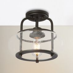 Features:  -Bulb type: 100W Medium base or 23W CFL bulb (included).  -Branchview collection.  -Number of lights: 1.  Product Type: -Semi flush mount.  Material: -Metal.  Number of Lights: -1.  Bulb Ty
