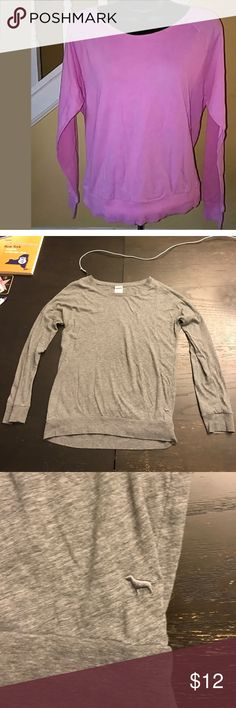 VS Pink Cotton Blend Long Sleeved Top Shirt is grey and not pink as shown in stock pic 1. 2-5 actual item. 60%cotton/40%polyester. EUC PINK Victoria's Secret Tops Tees - Long Sleeve
