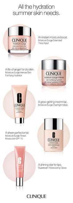The hydration summer skin needs.  Clinique Moisture Surge Extended Thirst Relief: An instant moisture boost. Clinique Moisture Surge Intense: A life-changer for dry skin. Clinique Moisture Surge Overnight Mask: A glow-getting insomniac. Clinique Moisture Surge Tinted Moisturizer SPF 15: A sheer perfectionist. Clinique Superbalm Moisturizing Gloss: A shining star for lips.