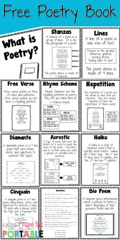 How to Teach Poetry (Even if You Hate it Love these poetry anchor charts! They were perfect for my language arts bulletin board. I also made copies for my writing workshop folders. This was a great poetry vocabulary resource! Anchor Charts, Poetry Anchor Chart, 4th Grade Writing, 4th Grade Reading, Fourth Grade, Middle School Reading, 5th Grade Poetry, Teaching Poetry, Teaching Writing