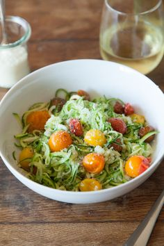 Zucchini Noodles with Roasted Tomatoes | What's Gaby Cooking #healthy #salad #lowcarb