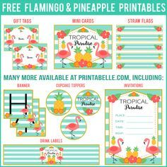 Free Flamingo Party Printables and more! #flamingo #freeprintable