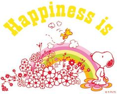 Happines is... flowers spring #peanuts #snoopy. Rainbows were in ... Had a big one on my bedroom door forever