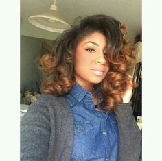 2017 Spring & Summer Hair Color Trends For Black & African American Women. Reinvent yourself this summer by stepping up your hair game with a brand new hair shade. Love Hair, Gorgeous Hair, Weave Hairstyles, Pretty Hairstyles, Curly Hair Styles, Natural Hair Styles, Look 2015, Pelo Natural, Dyed Natural Hair