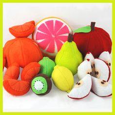 Super cute assortment of felt food fruit (love the details, especially the apple seeds). #felt #crafts #food #felt_food #DIY #cute #kawaii