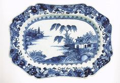 """George Washington ordered this beautiful butterfly-bordered Chinese export porcelain platter in 1783. It was still at Mount Vernon when he died in 1799, at which time Mrs. Washington recorded it as part of the """"blew & white chine in common use."""" [Dining with the Washingtons by Stephen A. McLeod]"""