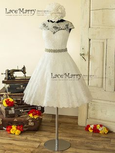 0ef9933d9e6 1950 s Style Short Wedding Dress from Alencon Lace with Illusion Neckline
