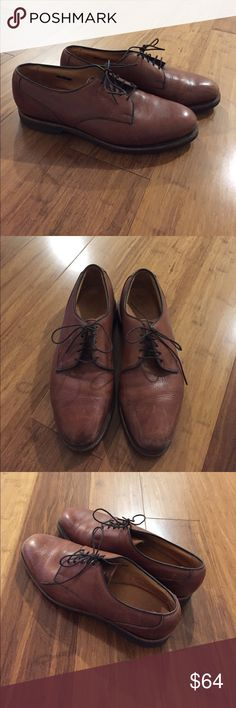 Allen Edmonds Joplin Oxford Cognac-colored leather w/natural rubber men's oxfords by Allen Edmonds. This is the Joplin style. Made in the USA. Size 10. Allen Edmonds Shoes Oxfords & Derbys
