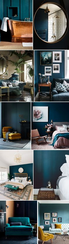 Trendy home decored ideas bedroom paint colours teal Ideas Style At Home, Style Uk, Living Room Inspiration, Home Decor Inspiration, Bedroom Colour Schemes Inspiration, Blue Bedroom, Bedroom Decor, D House, Bedroom Paint Colors